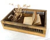 Vintage Wooden Box Rectangular Storage Organizer Display