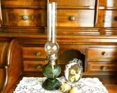 Vintage Oil Lamp Green Glass Big Bohemia Glass Prima