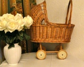 Vintage Doll' s Baby Carriage Wicker Pram Pushchair Buggy