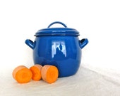 Vintage Pot Dutch Blue Small Enamel with Lid and Handles