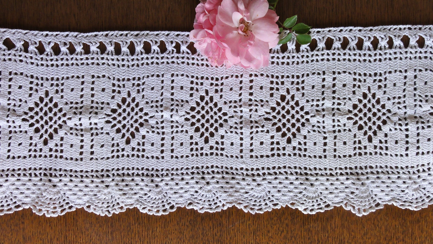 Vintage Crochet Curtain White Filet Valance by oldamsterdam