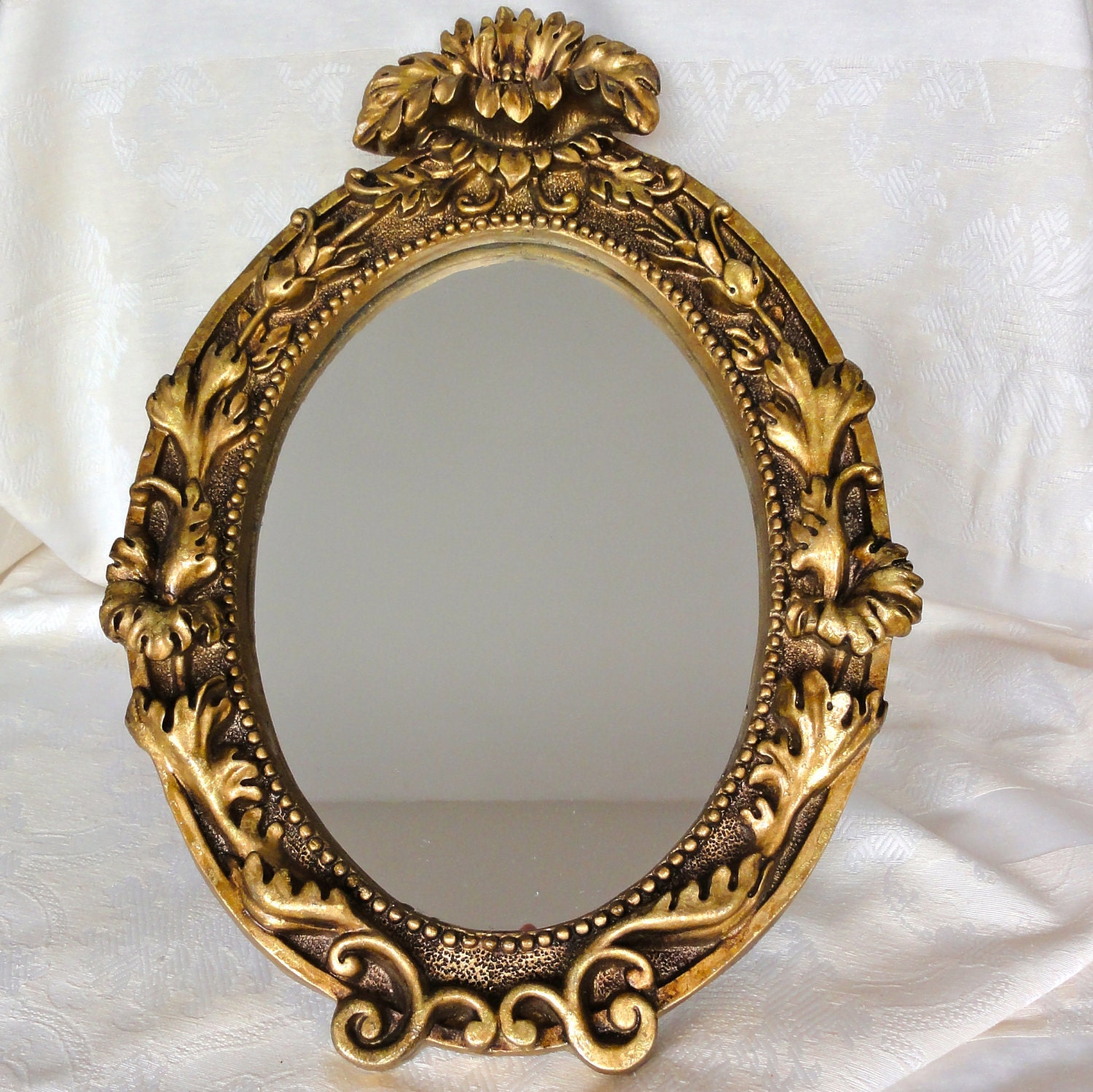Vintage mirror wall hanging golden color frame by oldamsterdam for Espejos vintage