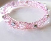 Wire Lace Bangle Bracelet Light Pink Beaded Hand Knitted Wire and Crystals