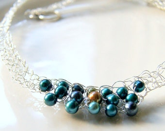 Peacock Pearl Statement Necklace Silver Knitted Wire Lace