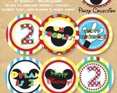 Mickey Mouse inspired Cupcake Toppers/ Favour Tags/ Stickers etc & Cupcake Wrappers - PERSONALIZED - Print yourself