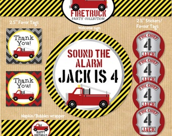 DELUXE Printable Boys Birthday Party Package - Fire Truck -  Print Yourself (NEW). by Your Printable Party