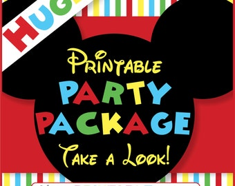 Mickey Mouse Party Package -  PERSONALIZED - Print Yourself . by Your Printable Party