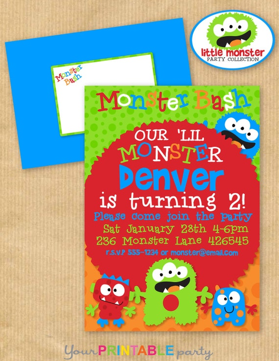 "Deluxe Little Monster Birthday Party INVITATION 5 x7"" with Wrap around Address Label & Envelope Template- DIGITAL files only -Print yourself"
