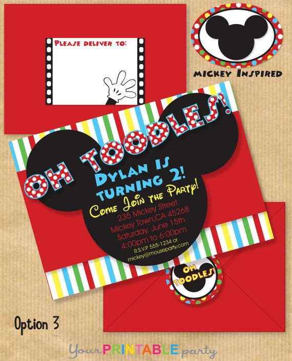 "Mickey Mouse Inspired Deluxe Birthday Party INVITATION 5x7"" with Address Labels also now includes Envelope Template - Print yourself"