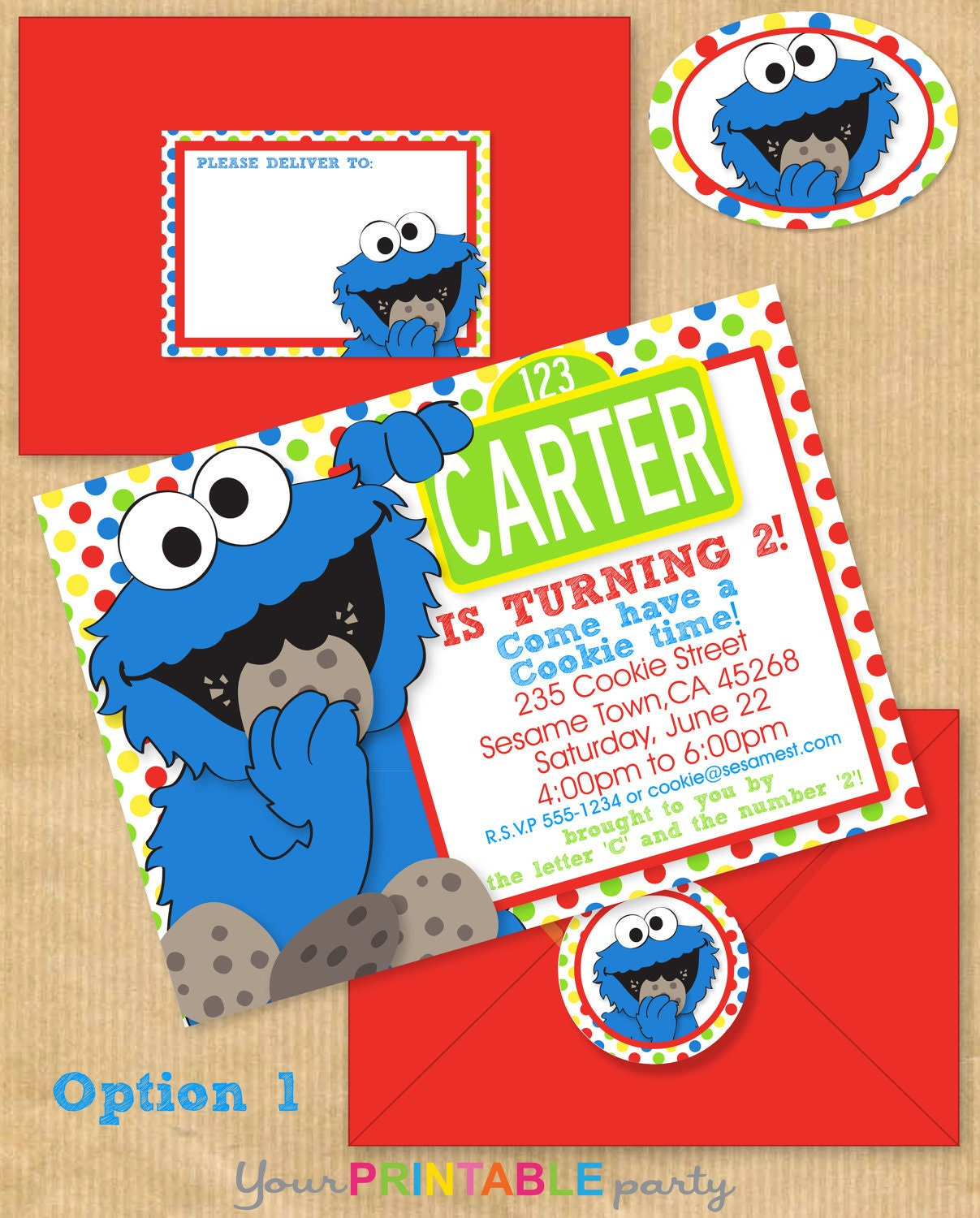 COOKIE MONSTER Party Invitation 5x7 with Address Labels