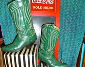 VINTAGE 1940s green JUSTIN BOOTS Womens size 7 kicker swing rockabilly roper rodeo cowboy cowgirl