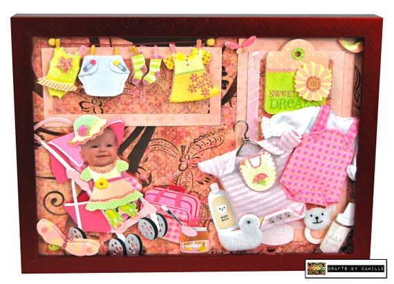 Shadowbox Baby Girl Clothes Framed-Custom Made Gifts