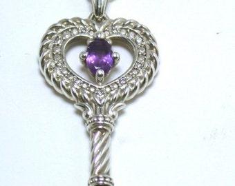 Key To My Heart Pendant With Amethyst In The Center, Silver, Small Diamonds- Schlüssel Zum Herzen