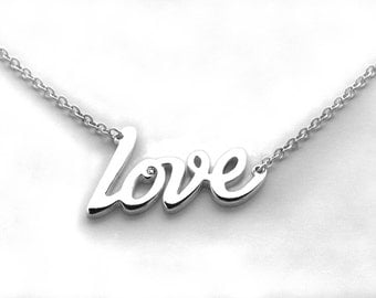 Silver Love Necklace With Sterling Silver Chain