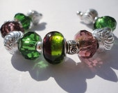 Pandora Inspired Bracelet, Green and Purple, SALE, 25% off