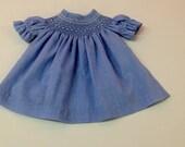 Smocked blue gingham print dress