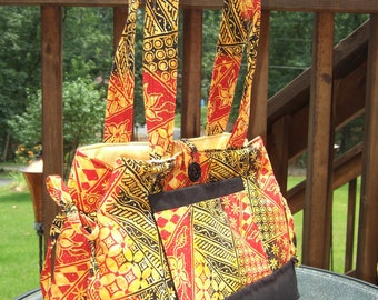 YELLOW, RED, and BLACK print purse