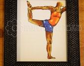 "Yoga Art Woman Pose, Glicee Drawing Print ""Yoga III"" ( 8x10 )"