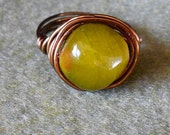 Olive Jade ring - jewelry - ring - statement ring - wire wrap ring - bohemian ring - jade stone - nugget ring - semi precious stone - unique
