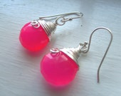 Chalcedony Pink Earring - Jewelry - earring - dangle - drop - chalcedony - Semiprecious stone - Wrapped Briolet Earring - Gift for her