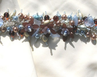 Charm Bracelet Blue and Brown Flowers