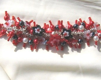 Charm Bracelet Red Black and White Flowers