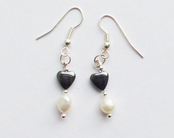 Earrings Hearts and Pearls in Sterling Silver