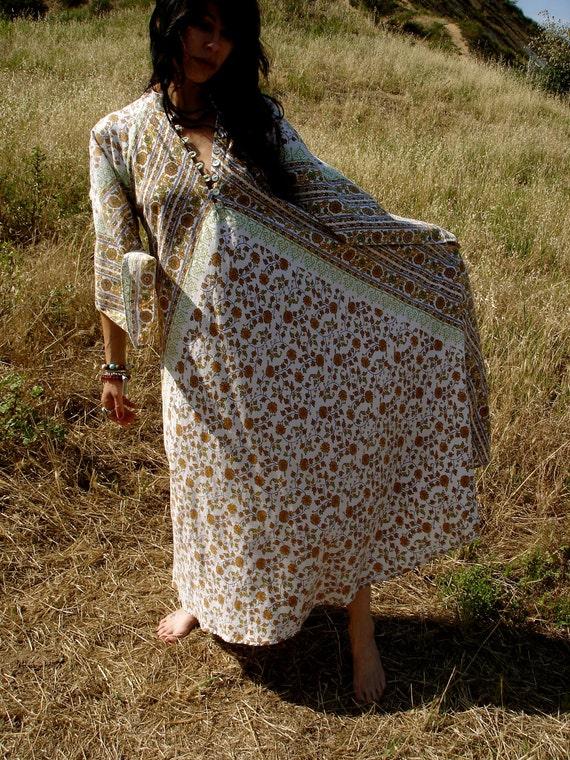 Sunshine Sunflowers Bohemian Handmade Maxi Dress One of a Kind