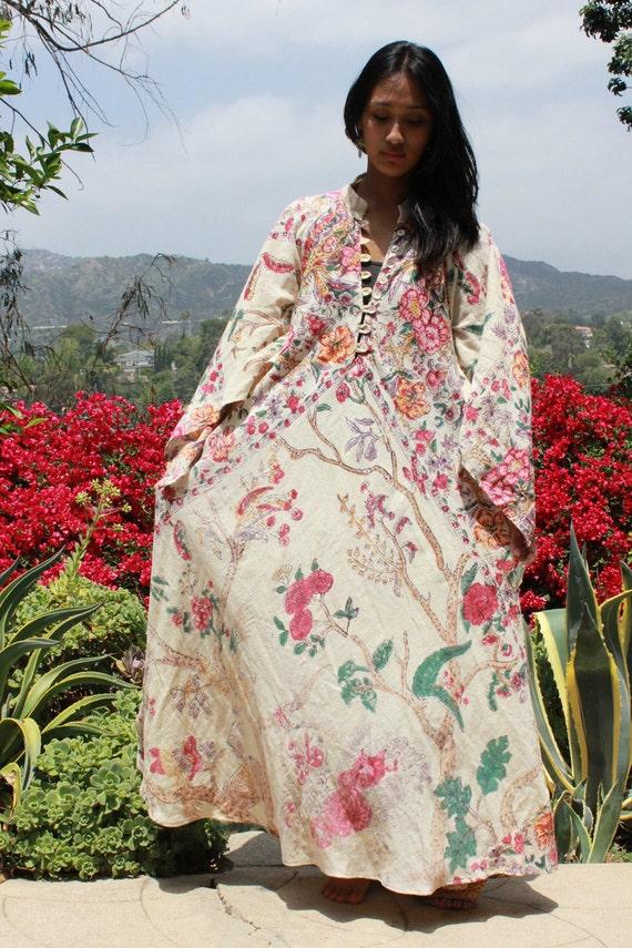 L/XL Stunning Tree Of Life Vintage Indian Cotton Kaftan Dress Circa 1970s Bohemian Beauty
