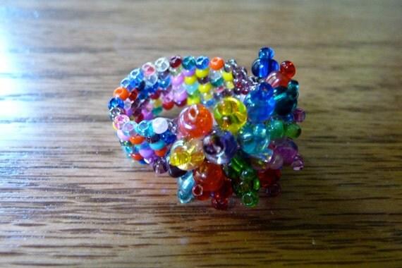 Cosmic Rainbow Beaded Cluster Ring