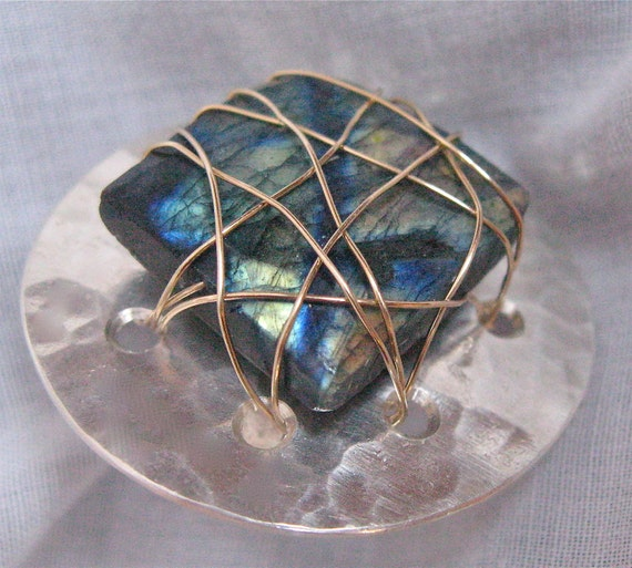"Labradorite Chunk on a 1 -1/2"" hammered silver ring - Adjustable  OOAK"
