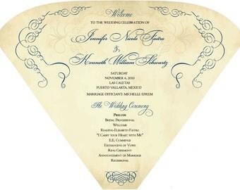 SET OF 25+ Vintage Scroll Design Wedding Program Fan custom colors available