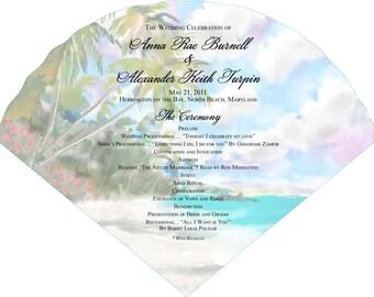 SET OF 25+ Beach Island Tropical Wedding Fan custom colors available