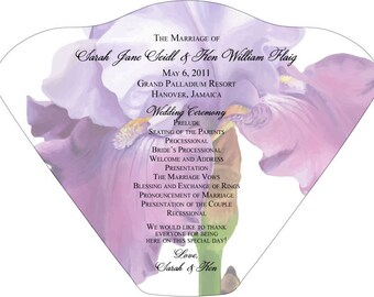 SET OF 25+ Large Purple Iris Wedding Fan custom colors available