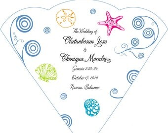 SET OF 25+  Tropical Swirls &  Seashells Wedding Fan custom colors available