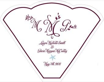SET OF 25  Purple Floral Vines Wedding Fan custom colors available