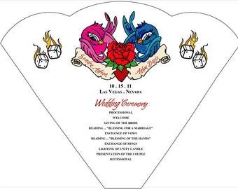 SET OF 25+  Rockabilly Vegas Swallows Wedding Fan custom colors available