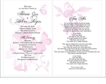 SET OF Vintage Butterflies & Wildflowers Design Classic Wedding Programs custom colors available - 75 cents each