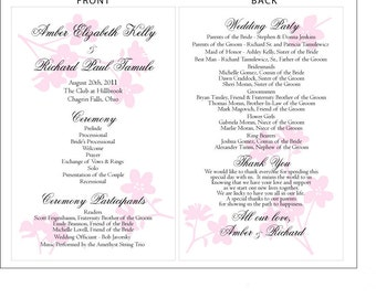 SET OF Dogwood or Apple Blossoms Design Classic Wedding Programs custom colors available - 75 cents each