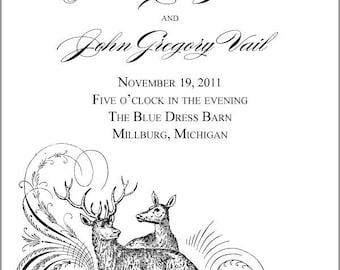 SET OF Deer Scroll Flourish Design Classic Wedding Programs custom colors available - 75 cents each