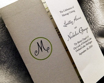 SET OF 25 Brocade - Gate Folded Style Wedding Programs custom colors available