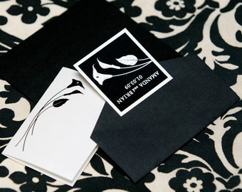 SET OF 25 Elegant Cala Lily Place Cards - Tented Style custom colors available