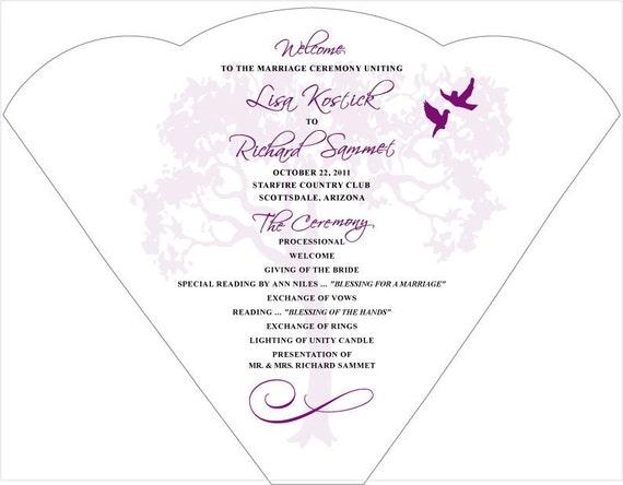 SET OF 25+ Elegant Swirls & Love Birds Design Wedding Fan custom colors available