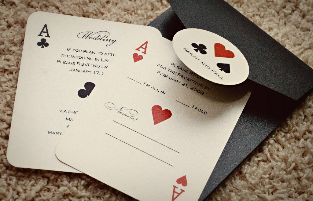 set of classic vegas or poker themed wedding invitations