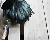 1940s Vintage Headpiece with Velvet bow, birdcage veil, and gorgeous peacock feathers