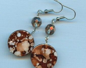Elegant brown glass dangle earrings C103