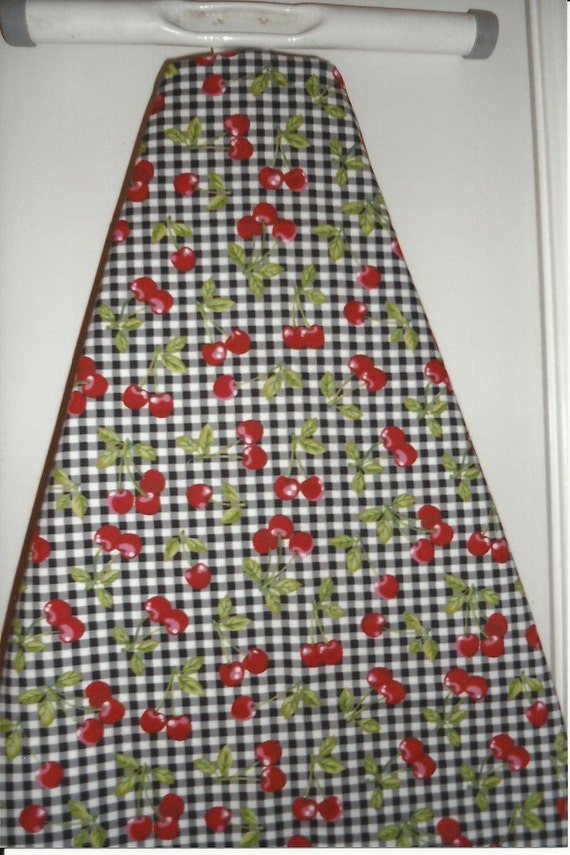 Ironing Board Cover in Cherries on Black/White Check Print