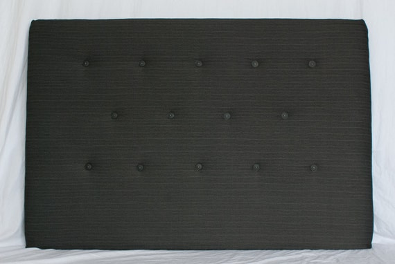 Upholstered Headboard in Dark Grey/Blue Suit Material - Queen Size and Wall Mounted