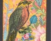 Original Art Mixed Media Bird ACEO