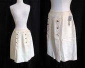 Vintage 1960s Skirt - Sears Cream Colored Wool Skirt w/ Pleating & Gold Buttons - NOS w/ Tags - Small